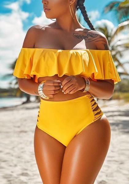 81e1020b65 Yellow Ruffle Off Shoulder Lace-up Two Piece High Waisted Beachwear Swimwear