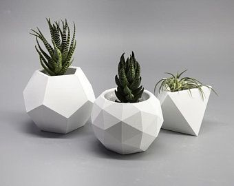 Your place to buy and sell all things handmade White Planters, Indoor Planters, Planter Pots, Concrete Crafts, Concrete Planters, High Strength Concrete, 3d Printer Designs, Inside Plants, White Concrete
