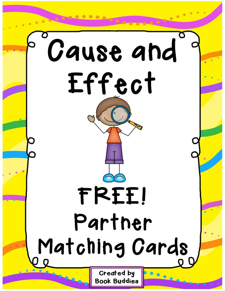 FREE Cause and Effect matching partner cards with thanks from Book Buddies! These fun cards are a great literacy center warm-up for Cause and Effect studies, for matching partners or as a matching game.