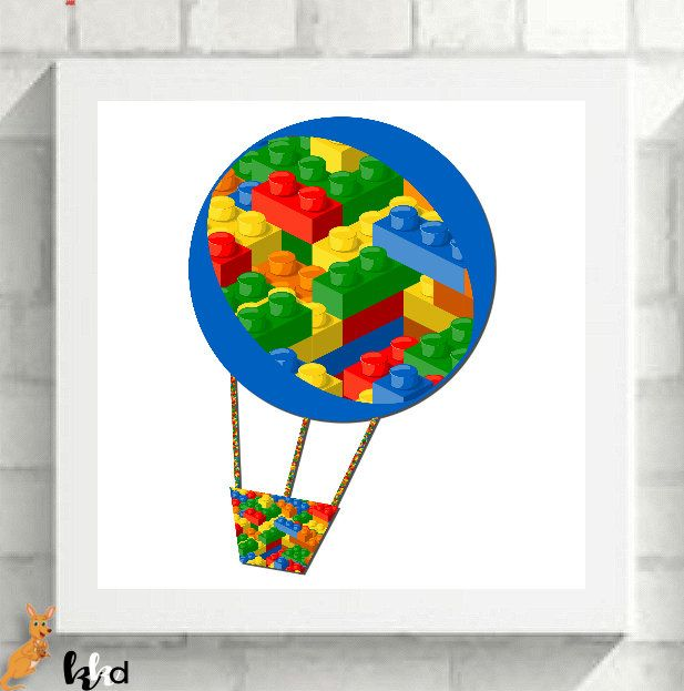 Lego Wall Art, Canvas Lego Wall Art, Hot Air Balloon Print, Lego Prints,  Lego Nursery Art, Lego Bedroom, Transport Art