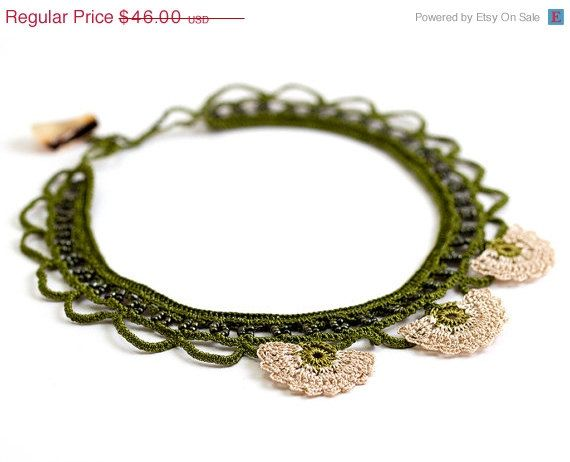 SALE Green Crochet Lace Statement Necklace Ivory by PinaraDesign, $34.50