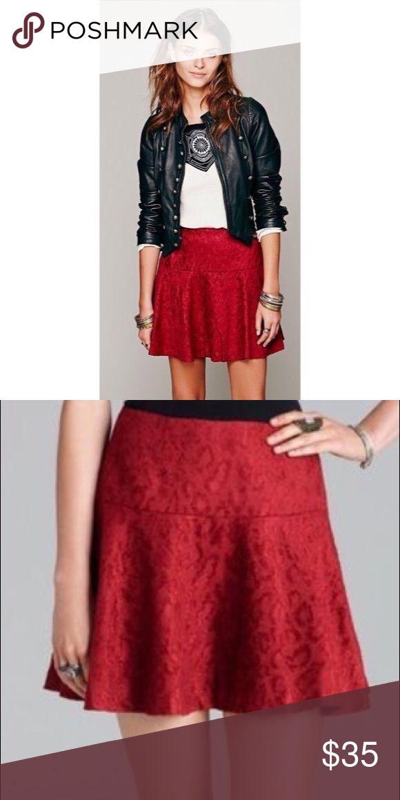 Free People Red Chenille Cheetah Skirt Free People Red Chenille Cheetah Skirt  size 4 Free People Skirts Mini