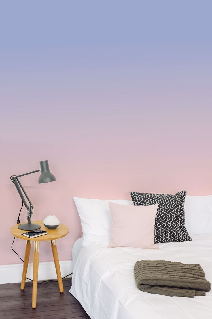 Infusing Pantone's 2016 colours of the year, this super trendy ombre design creates a soothing atmosphere in your bedroom.