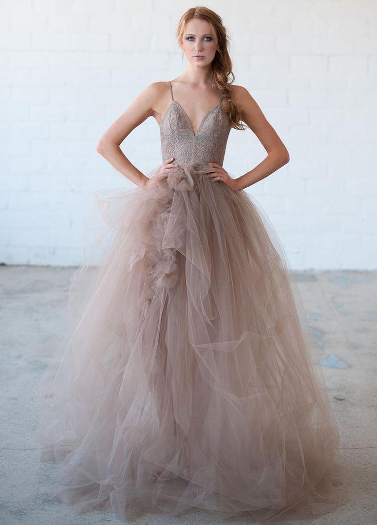 Beautiful Tara LaTour Fall purple lace bodice and layered tulle wedding dress https