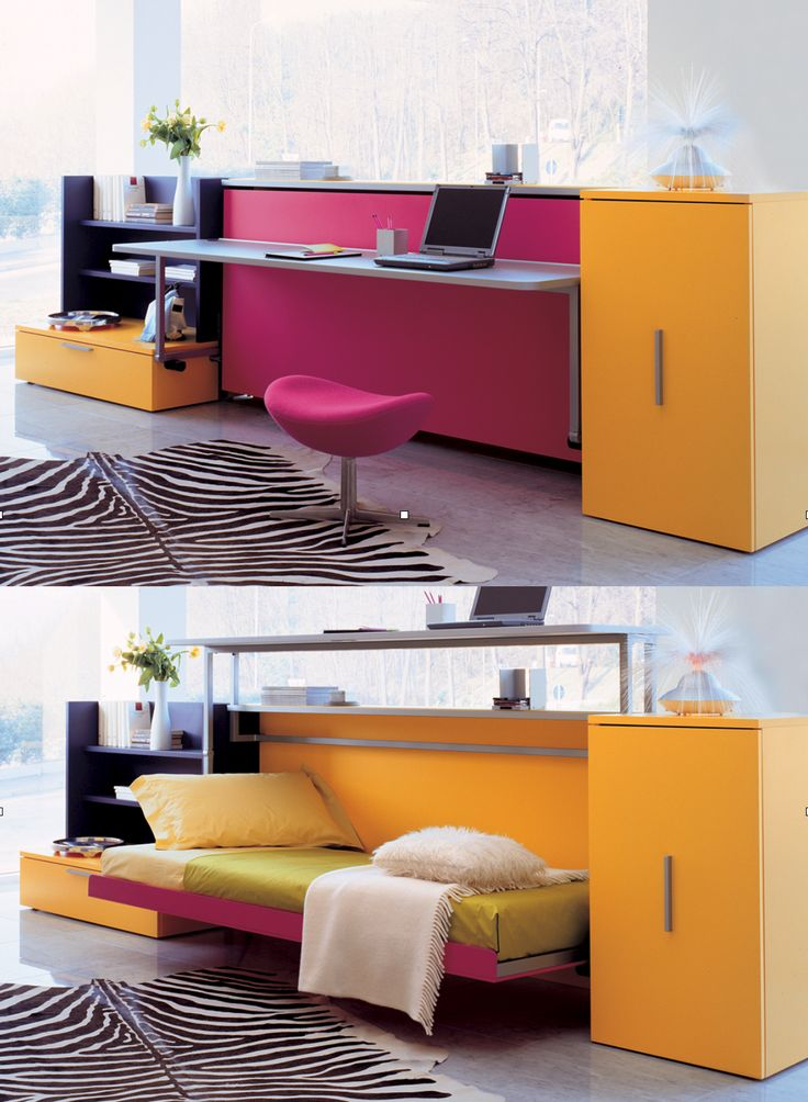 "The Cabrio IN is a horizontally opening, twin-size space saving ""murphy bed"" with a desk that lifts to allow the bed to be pulled down."
