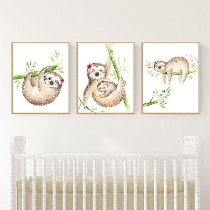 Sloth Nursery art Sloth Nursery Name Sign Sloth Name Sloth Gift Circle Nursery sign Woodland Nursery Girl Nursery Sign