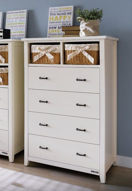 Ivan Tall Chest with 4 Wide Drawers and 2 Baskets