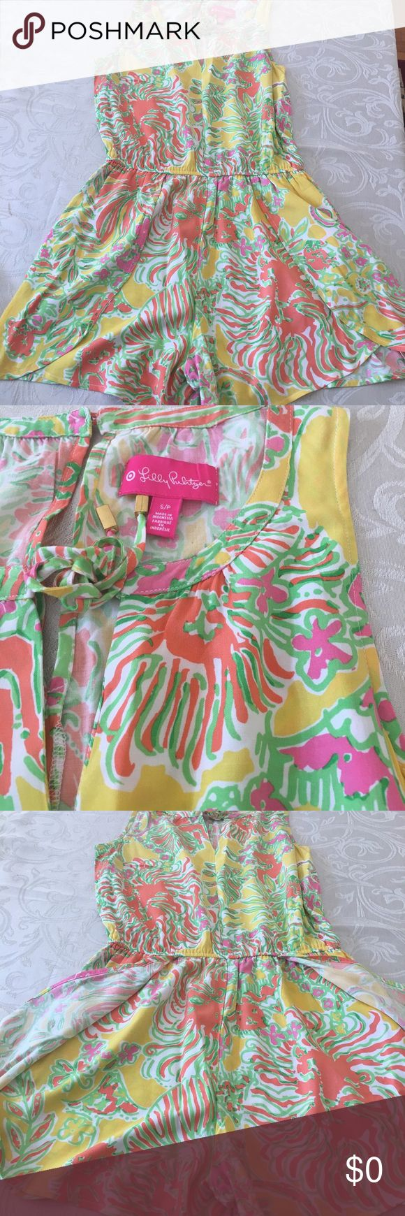 Lilly for Target Happy Place Challis Romper Preloved Lilly for Target romper with pockets is perfect light and airy piece for a warm day. Normal wear no strains or rips. Lilly Pulitzer Shorts