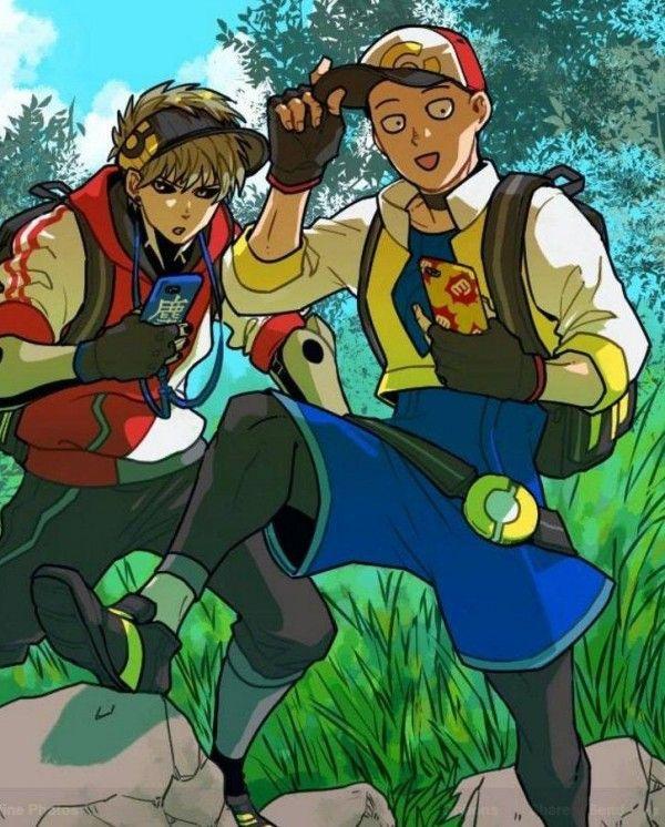 one punch man- genos and saitama
