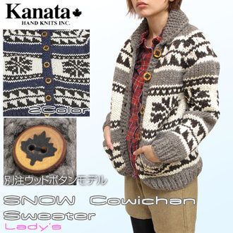Kanata Kanata another note SNOW Cowichan Sweater Lady's 2012 fall winter edition snow pattern Cowichan sweater jacket Womens