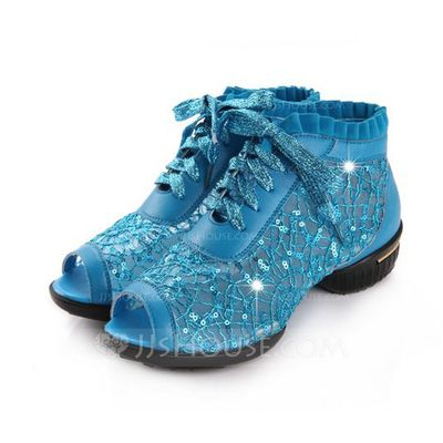 Women's Real Leather Sneakers Sneakers Practice With Lace-up Dance Shoes (053051796)