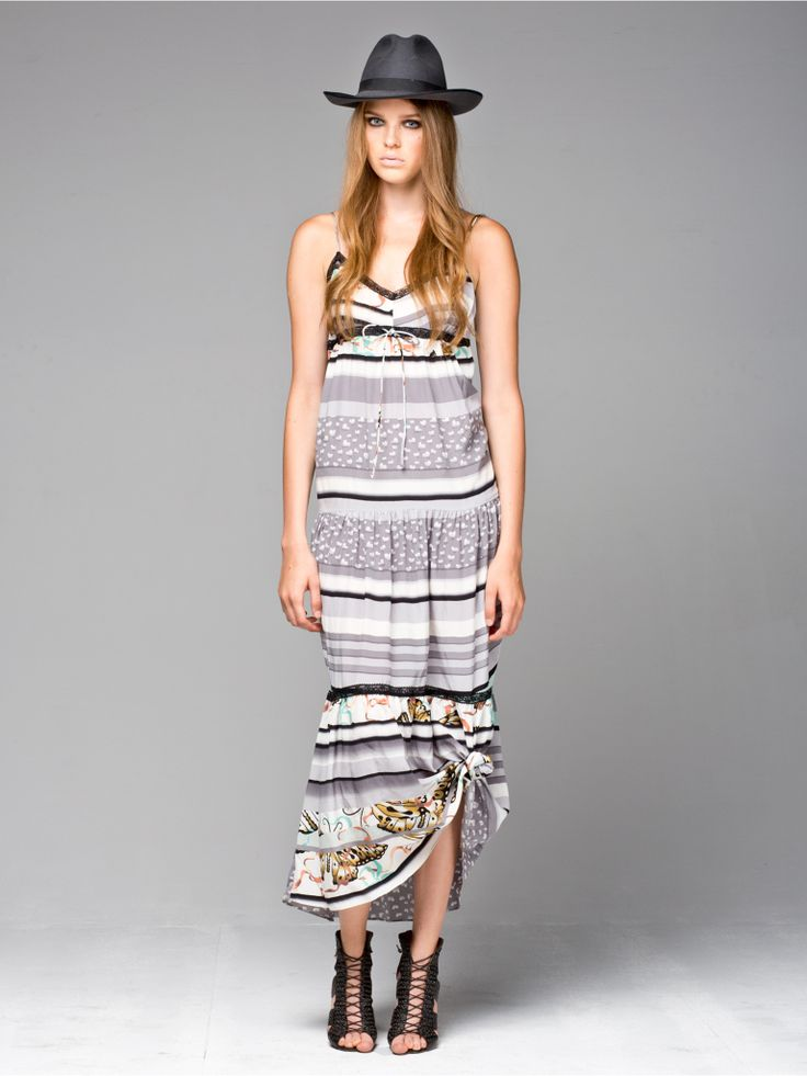 The Leisure Town Silk Maxi Dress in butterfly print