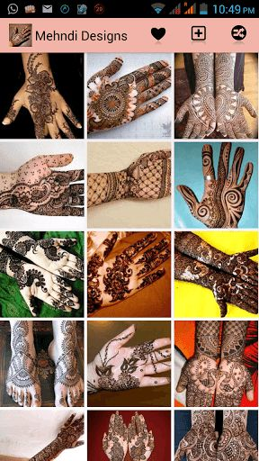 Get huge collection of Best Mehndi Designs. You can share these Mehandi Designs directly from your app. Mehndi or Henna is a paste that is bought in a cone shaped tube and is made into designs for men and women. You can Swipe Right or left to view next or previous Mehndi Design.<p>You can use these mehndi design for any occession of festival like Shadi (marriage), Eid, Diwali etc.<p>There are many variations and types in Mehndi Designs which are categorized such as Arabic Mehndi Designs…