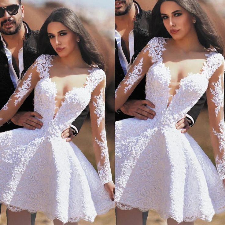 short wedding dresses boho lace appliqué v neck beaded long sleeve wedding gowns robe de mariee