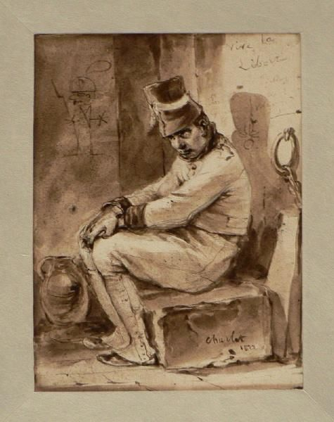 CHARLET Nicolas Toussaint (dessinateur, lithographe)   Titre  Soldat en prison ; Vive la liberté! (autre titre)   Période création/exécution  1er quart 19e siècle