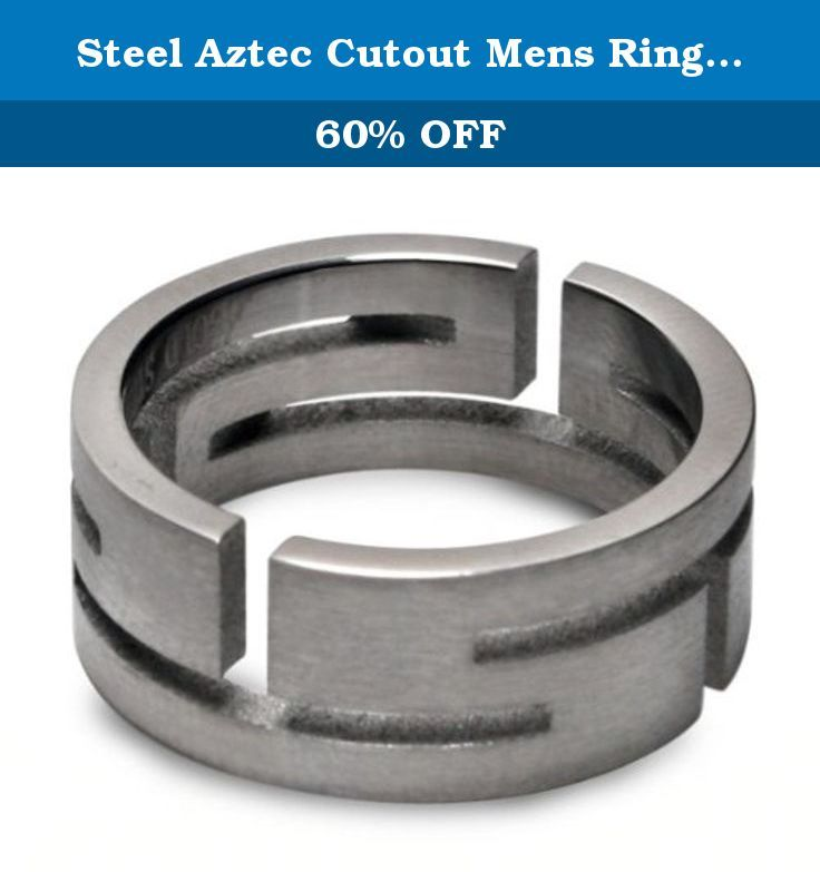 """Steel Aztec Cutout Mens Ring - size 13. Laser-cut stainless steel ringband in a modern take on Aztec style, with a brushed-finish effect. Band is 8mm (1/4"""") wide. Size 13."""