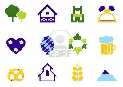 Vector Collection of Germany and Octoberfest design elements - blue, orange, green