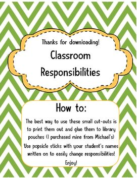 Here are some cut-out classroom jobs you can use in your class! Just cut them out and use them on library pouches with popsicle sticks to easily change jobs whenever you please!