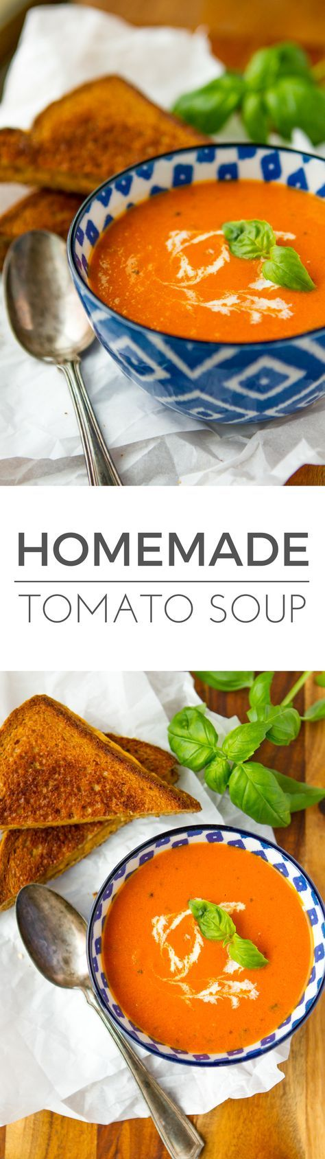 Homemade Tomato Soup -- this creamy tomato basil soup recipe is a total copycat of my favorite soup at First Watch! Perfect paired with a hot and fresh classic grilled cheese sandwich… | via @unsophisticook on unsophisticook.com