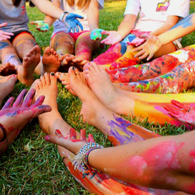 """Sisterhood idea - Everyone covers their hands in a paint color and a leader reads out prompts like """"touch someone who inspires you"""" or even fun prompts like """"touch someone who is from the same state as you."""" By the end of the game, everyone is laughing and covered in colorful paint."""