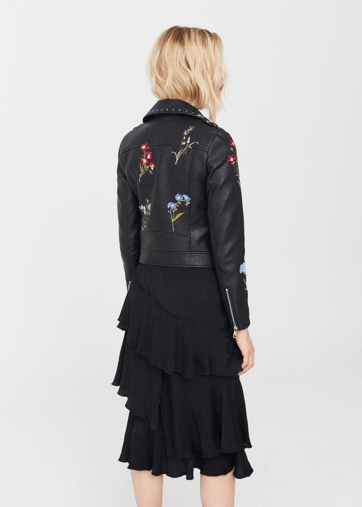 Embroidered stud jacket | MANGO
