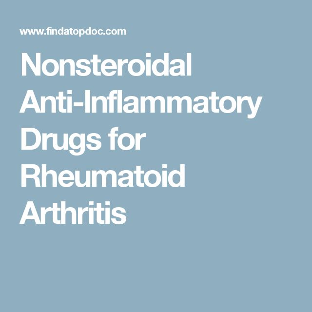 Nonsteroidal Anti-Inflammatory Drugs for Rheumatoid Arthritis