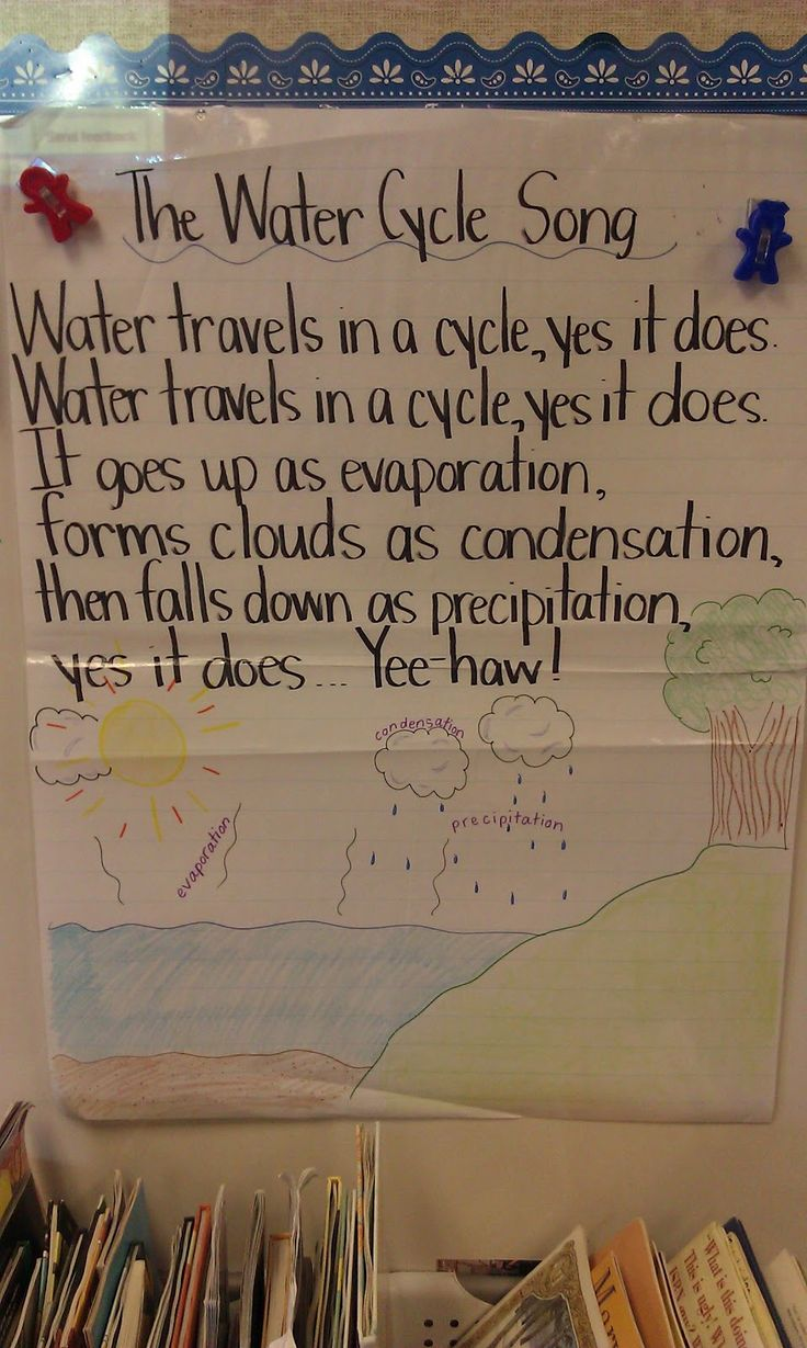 Great activities for the water cycle! A song, an experiment, and an art project.