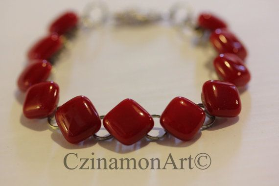 Red fused glass bracelet by CzinamonArt on Etsy, €25.00