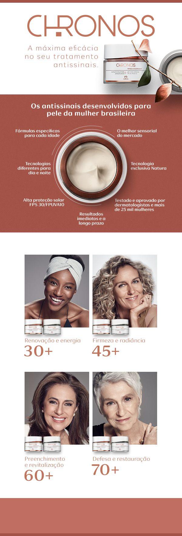 Conheça todos os benefícios do Novo Chronos, a linha que mais entende a pele da mulher brasileira. Fale comigo