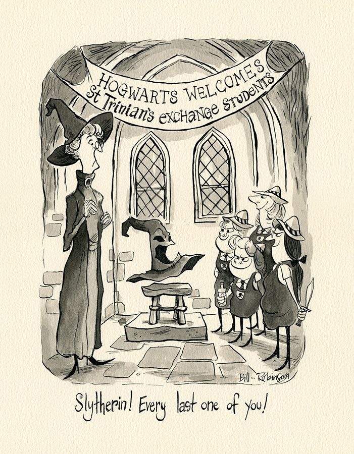 Searle Tribute: 'Hogwarts Welcomes St Trinians Exchange Students' 14x11, Ink on paper Bill Robinson, Art Director & Illustrator Oakland, CA