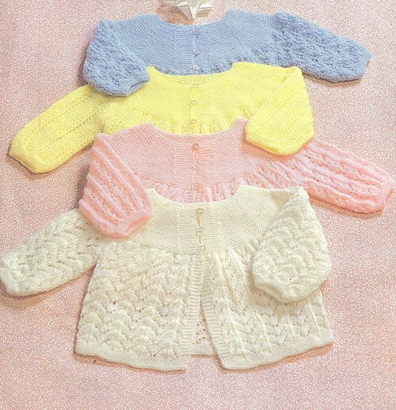Knit Baby Matinee Coat Vintage Knitting Pattern by OhhhBabyBaby