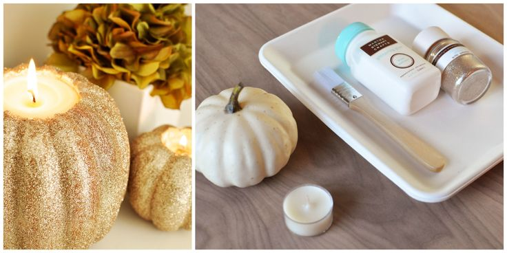 Pumpkins can become sparkling candle holders using these simple steps.