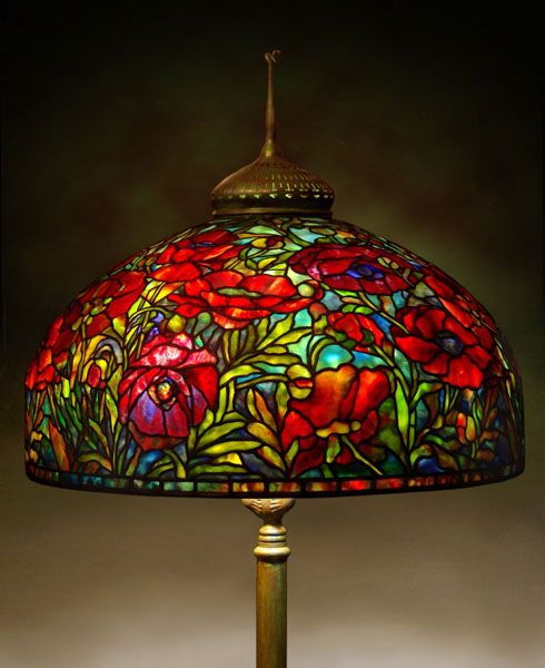 Tiffany Reproduction Oriental Poppy Lamp - Gale Obler's Stained Glass                                                                                                                                                                                 More