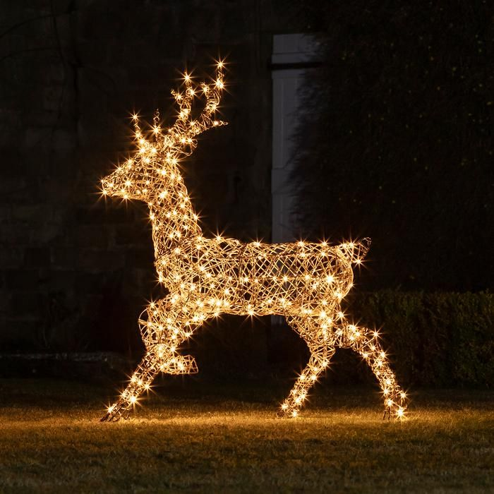 Daddy Rattan Reindeer Outdoor Christmas Figure Outdoor Christmas Outdoor Christmas Figures Outdoor Christmas Lights