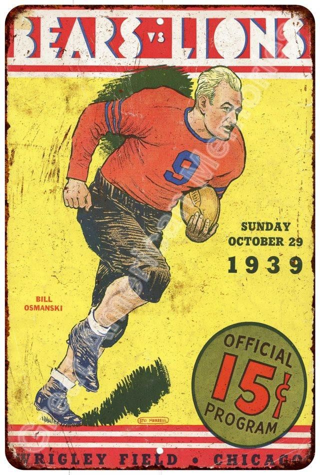 1939 Bears vs Lions Official Program Reproduction Metal Sign 8x12 8123367