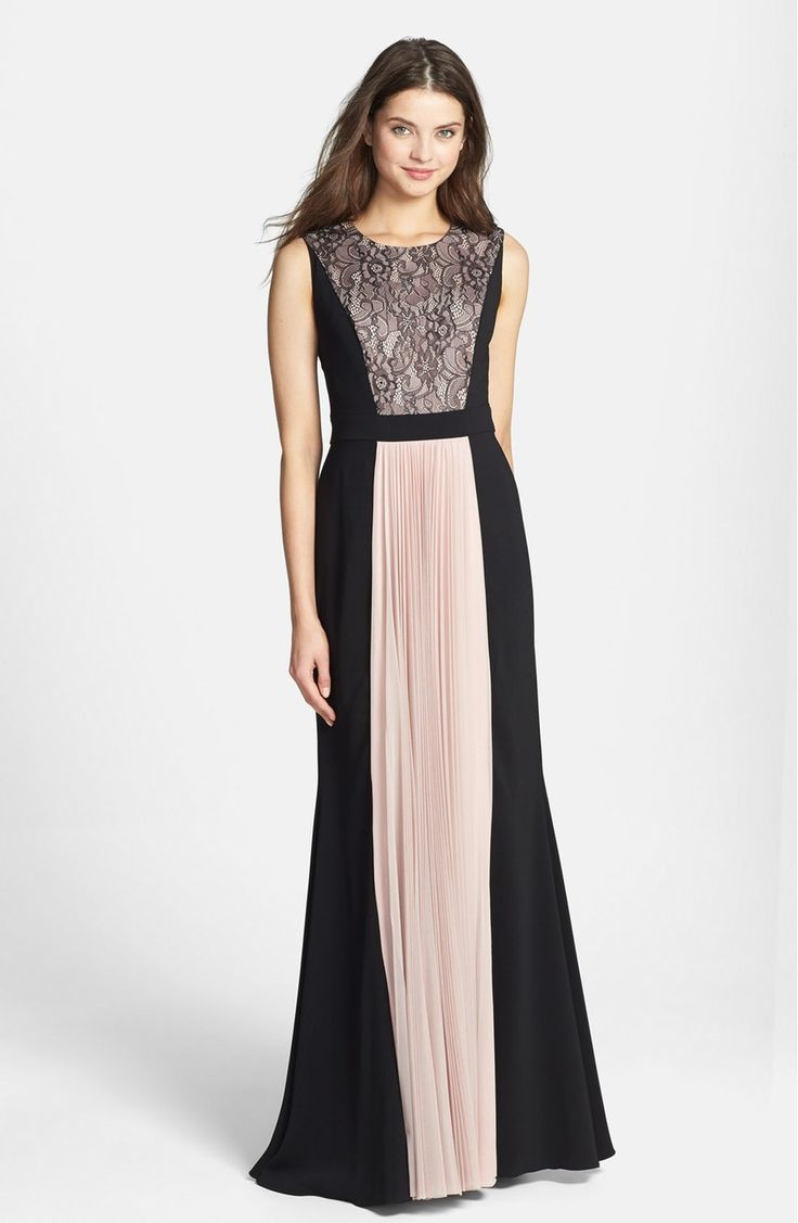 Free shipping and returns on JS Collections Lace & Pleat Panel Crepe Gown at Nordstrom.com. Rich black crepe frames the blushing lace-covered bodice and accordion-pleat skirt to imbue this elongated A-line gown with romantic two-tone dimension. A solid inset waistband further defines the feminine silhouette.