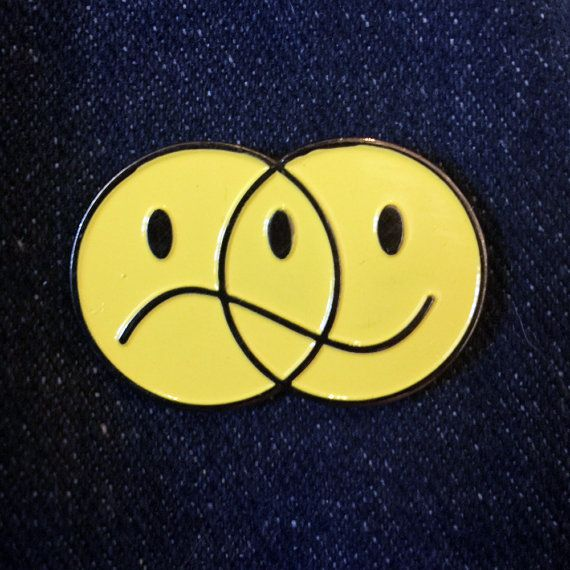 Happy Sad Venn Diagram Smiley Face Metal Enamel Pin Badge, Lapel Pin, Tie Pin, Pierre Richardson design