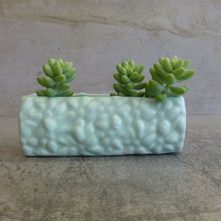 Vintage Diana Pottery  Small Trough Vase or Small Planter shape number - T-13 Made in Australia, 1950s Colour - pastel green.