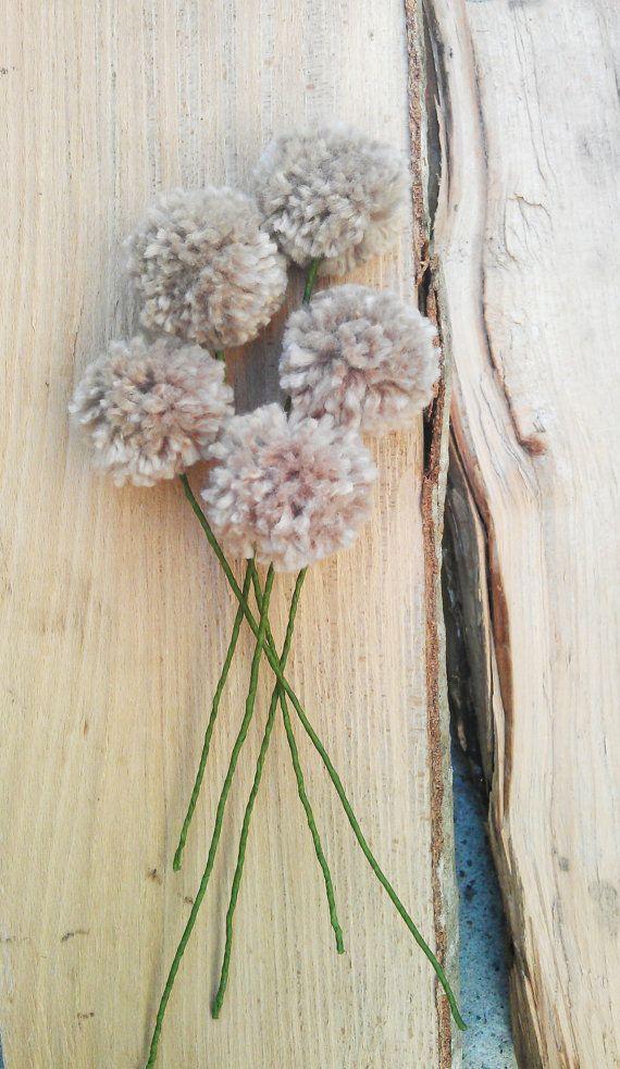 Pom Pom Flowers via etsy