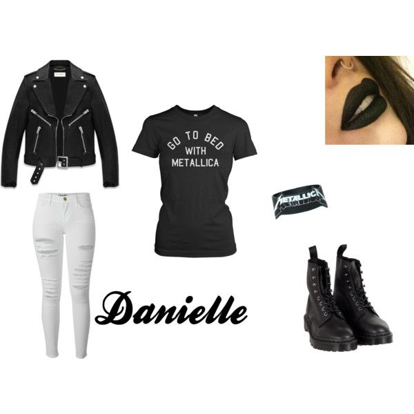 Metallica by larry69czech on Polyvore featuring Yves Saint Laurent, Frame Denim, Dr. Martens, metal, blackandwhite, core, metallica and metalstyle