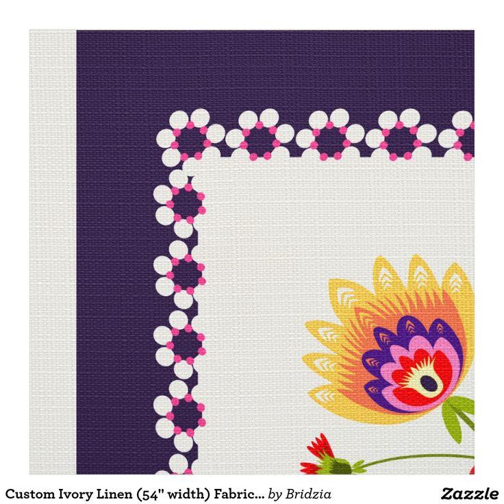 "Custom Ivory Linen (54"" width) Fabric-folk pattern Fabric"