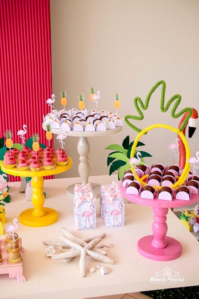 Sweets from a Tropical Flamingo Pool Party on Kara's Party Ideas | KarasPartyIdeas.com (15)