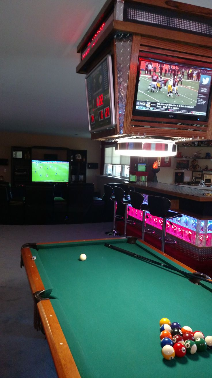 Great Pool Table Light With Lighted Bar Sports Mancave