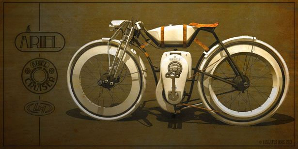 Ariel Cruiser by Vasilatos Ianis Has Won Local Motors Cruiser Design Challenge: One of Vasilatos dreams is to design a motorized bike that reminds us of the good ol' days of early 1900s. Every parts of this bike has been designed to reflect the history of boardtrack racing and motorbikes, starting from the motor and engine cover, fuel tank, to leather straps that keep the tank in its place. Awesome.