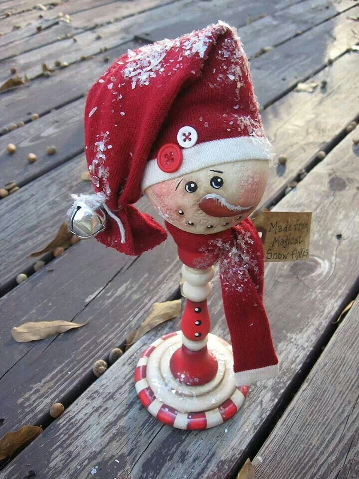 Painted candy cane Snowman from wood candlestick....cute craft idea