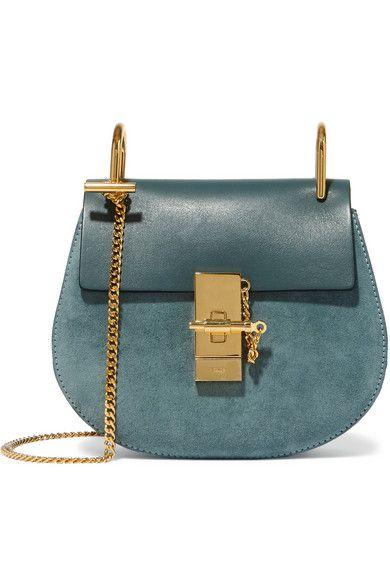 Chloé | Drew mini leather and suede shoulder bag | NET-A-PORTER.COM