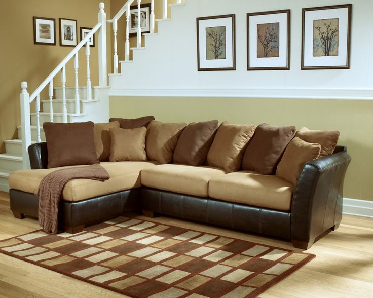 Fabric and leather sectional