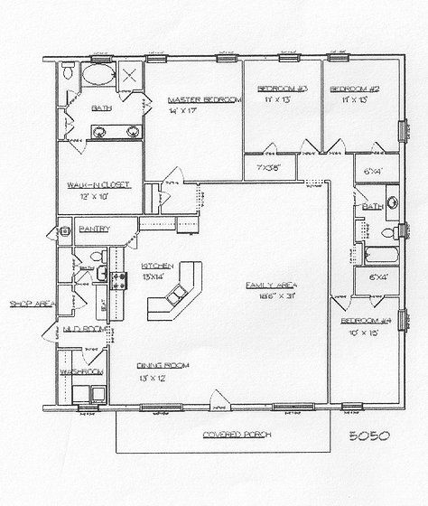 Barndominium and metal building plans - sitting/dressing room off master & next bedroom for craft/gun room