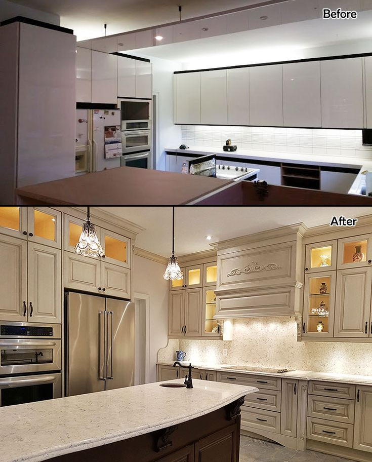 Antique kitchen, glazed solid wood finishing. Double stack kitchen. North York designed and built by JK