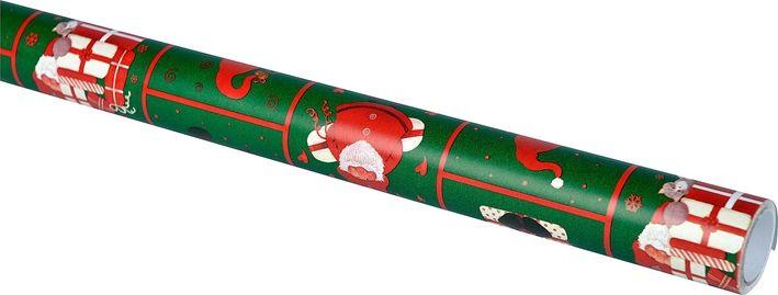 Julpapper, kraftigt papper 5 m, 3104771, juldekorationer, julpynt, julklappsinslagning, paketinslagning, omslagspapper, presentpapper, grönt, jultomtar